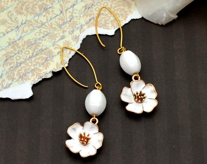 Elegant White Gemstone Earrings