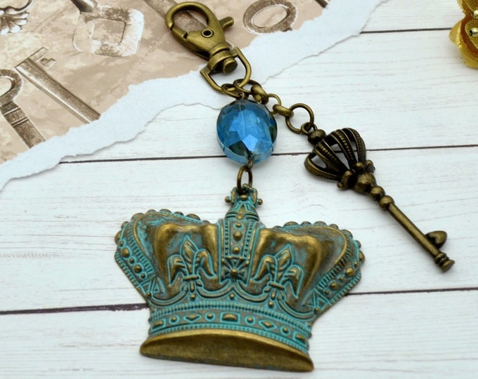 Crown Purse Charm - Couture Royal Bronze & Verdigris Key Chain