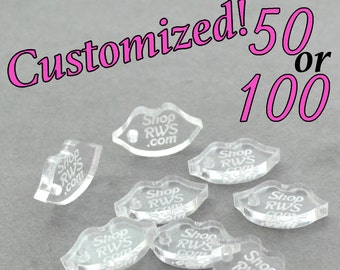 CUSTOM JEWELRY TAGS - Lips - Personalized - Qty. 50, 100, 250 - With or Without Holes
