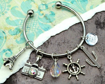 World Traveler - Couture Traveling Charm Cuff Bracelet with Charms and Crystals