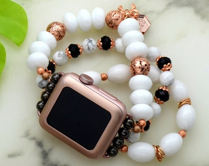 iWatch Beaded Band - 38mm - Rose Gold - Faux Bracelet Stack - OSFM