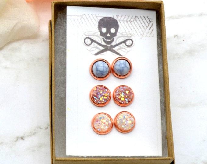 Rose Gold Stud Earrings - 3 Pack - Faux Druzy & Marble