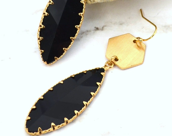 Faceted Crystal Marquis Black Dangles