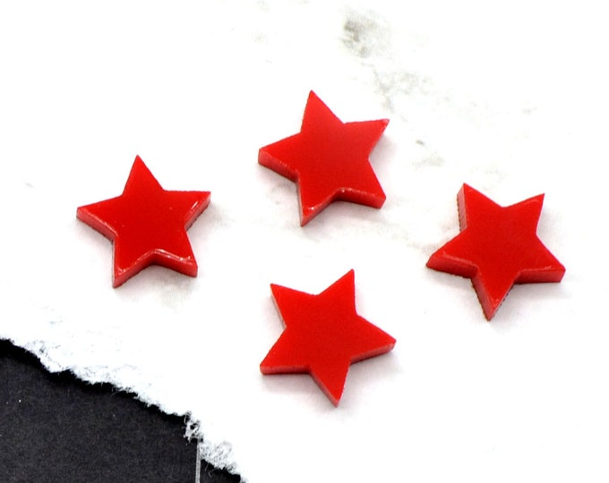 GLOSSY RED STARS - Set of 4 Cabochons in Laser Cut Acrylic