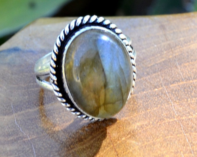 Labradorite Oval - Labradorite, Sterling Silver Ring, Size 7.25, 925, USA Seller, Genuine Stone, Oval Shaped, Handmade Gemstone Ring