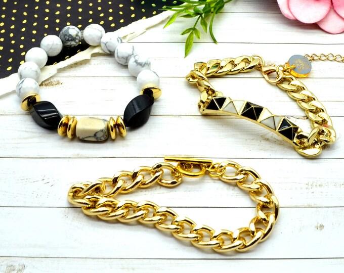 Noir and Blanc Bracelet Stack - 3 Bracelet Set