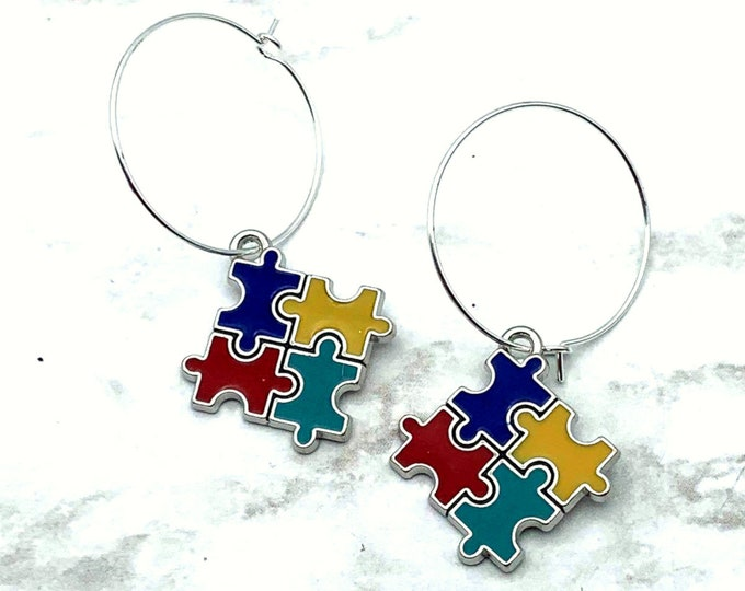 AUTISM AWARENESS - Puzzle Piece Charm Earrings