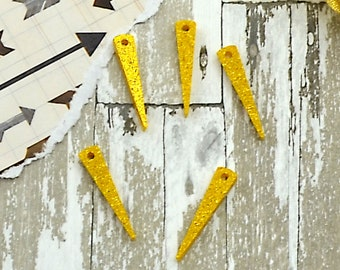 Small Gold Glitter Spikes - Laser Cut Acrylic Spike Charms - Set of 5