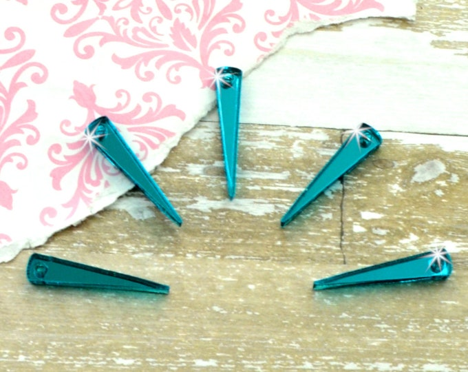TEAL MIRROR SPIKES -  Laser Cut Acrylic Spike Charms - Set of 5
