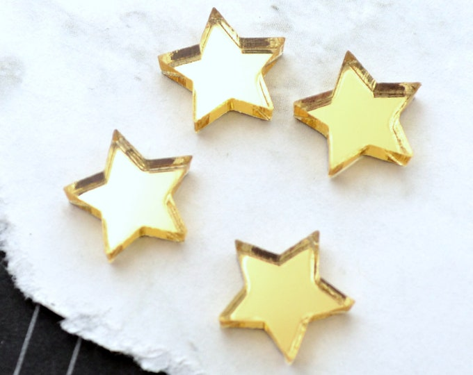 GOLD MIRROR STARS - Set of 4 Cabochons in Laser Cut Acrylic