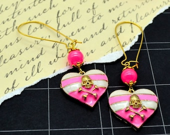 Skulls & Stripes - Pink - Sweet Dangly Heart Charm Earrings with Skull and Crossbones
