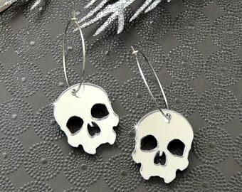 Skull Hoop Earrings - Silver