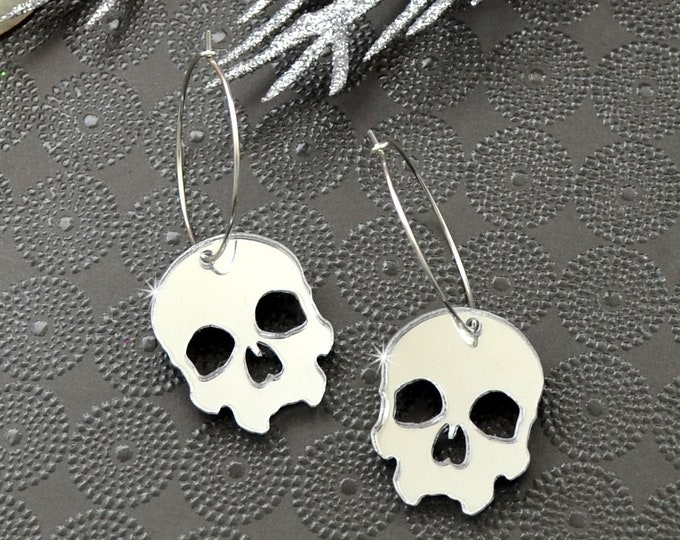 Skull Hoop Earrings - Silver