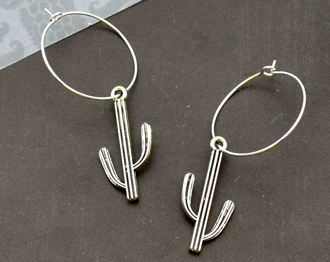Silver Saguaro Hoop Earrings