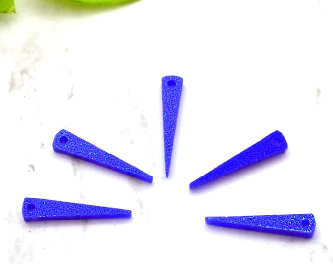 Small Dark Blue Glitter Spikes - Laser Cut Acrylic Spike Charms - Set of 5