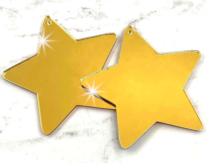Gold Mirror Star Charms - Pendants - 2 Pieces - Laser Cut Acrylic