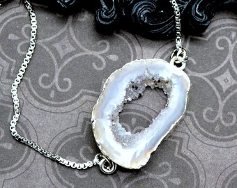 White Geode Slice - Adjustable Tennis Bracelet