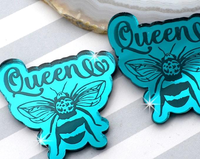 QUEEN BEE CABS - Teal Mirror Laser Cut Acrylic - Set of 2