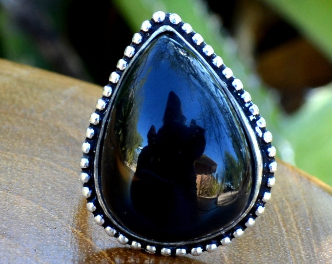 Black Onyx Teardrop - Black Onyx, Sterling Silver Ring, Size 8.5, 925, USA Seller, Genuine Stone, Tear Drop Shape, Handmade Gemstone Ring