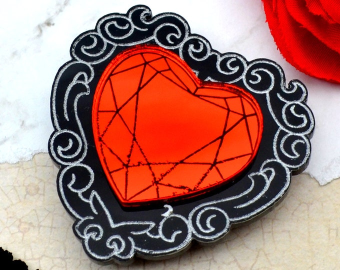 SO IN LOVE Brooch - Red & Black - Laser Cut Acrylic