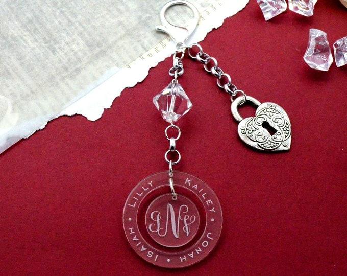 Custom Family Name Purse Charm - Custom Engraved Silver Colored Key Chain