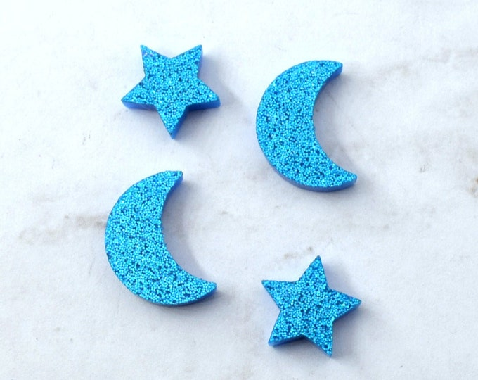 Blue Glitter  MOON and STARS - Set of 4 Cabochons in Laser Cut Acrylic
