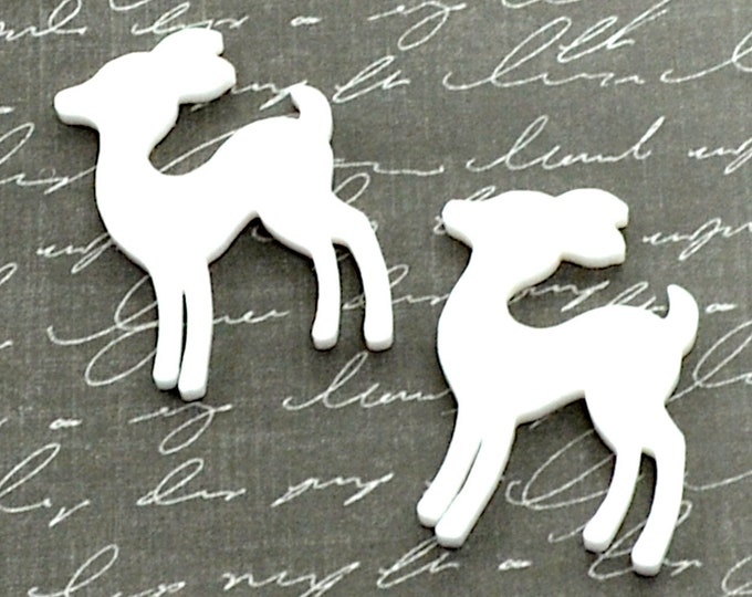SHINY WHITE DEER - Set of 2 Cabochons in Laser Cut Acrylic