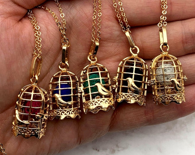 Rose Gold Birdcage Oil Diffuser Necklace - PYO Color