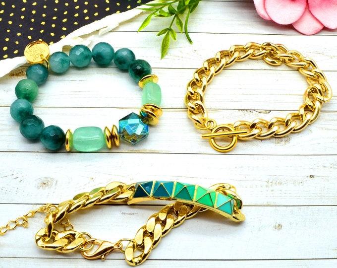 Green with Envy Bracelet Stack - 3 Bracelet Set