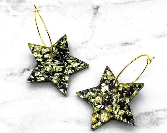 Shining Stars - Gold - Hoop Earrings - Laser Cut Acrylic