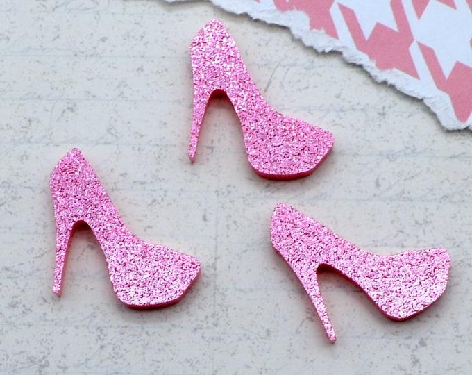 Pink Glitter Mini Heel Cabochons - 3 Pieces - Laser Cut Acrylic