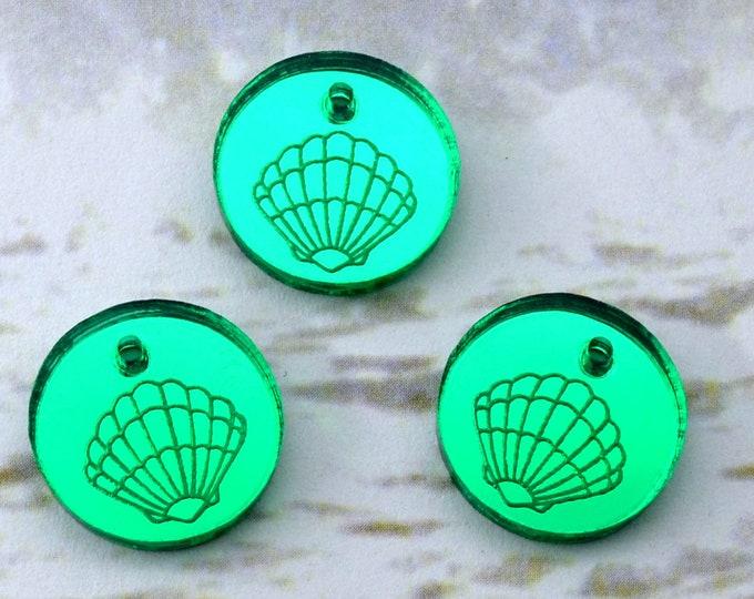 GREEN Mirror SEASHELL CHARMS - Sea Shells - Circle Disc Charm- Shiny Green Mirror Laser Cut Acrylic