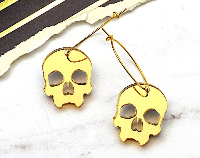 Skull Hoop Earrings - Gold