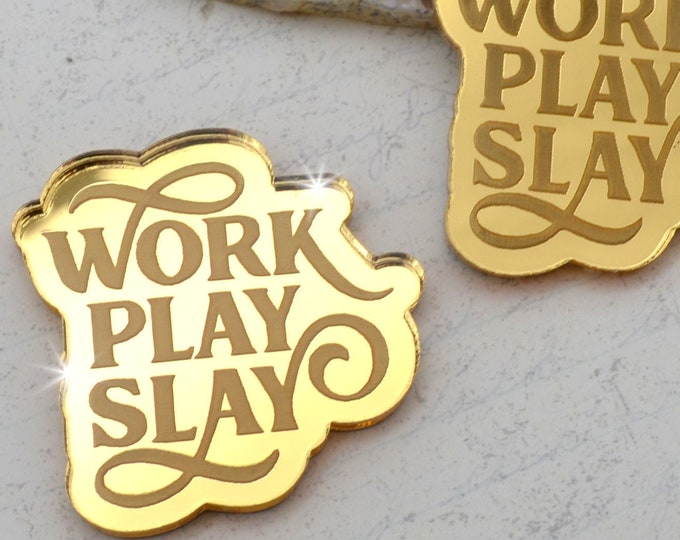 WORK PLAY SLAY - Cabochons- Gold Mirror Laser Cut Acrylic Cabs - Set of 2