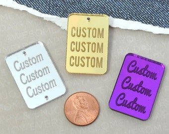 ENGRAVED CUSTOM RECTANGLE - Cabochon - Charm- Pendant - Laser Cut Acrylic - You Choose The Font, Word, and Color