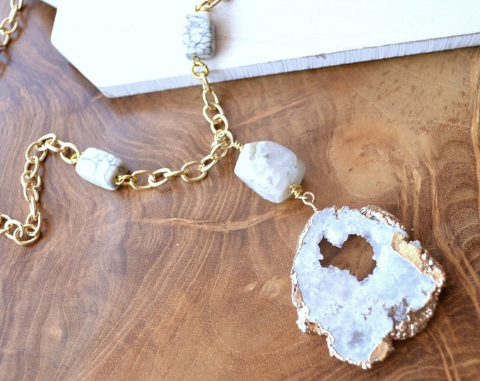 Quartz and Marble Couture Necklace - Healing Beauty Geode Slice