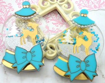 Sweet Snowglobe - Snowglobe Brooch -PYO Deer Color - Gold or Champagne