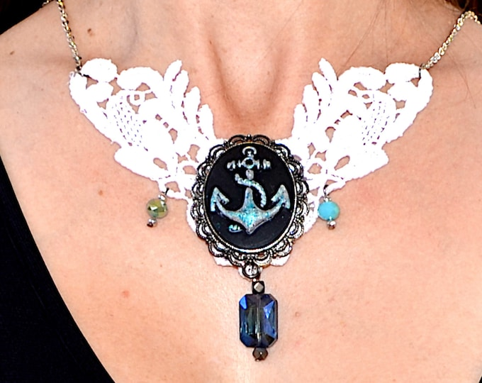 Romantic Anchor - Cameo Bib Necklace In White and Silver