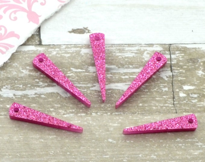 Small Magenta Glitter Spikes - Laser Cut Acrylic Spike Charms - Set of 5