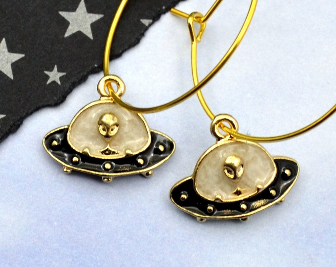 Out of this World Gold Charm Hoop Earrings