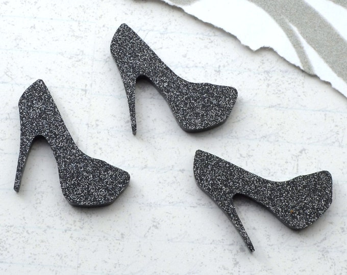 Black Glitter Mini Heel Cabochons - 3 Pieces - Laser Cut Acrylic