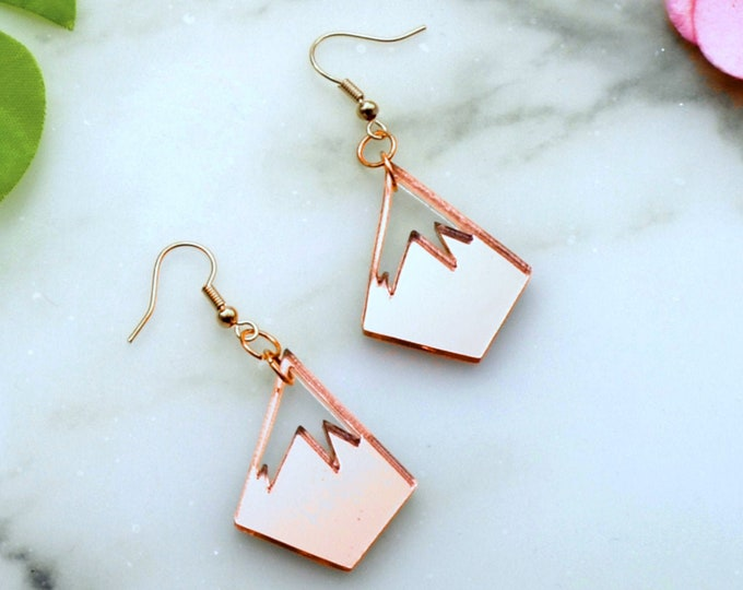 PINNACLE LOGO EARRINGS- Laser Cut Acrylic - Rose Gold Mirror