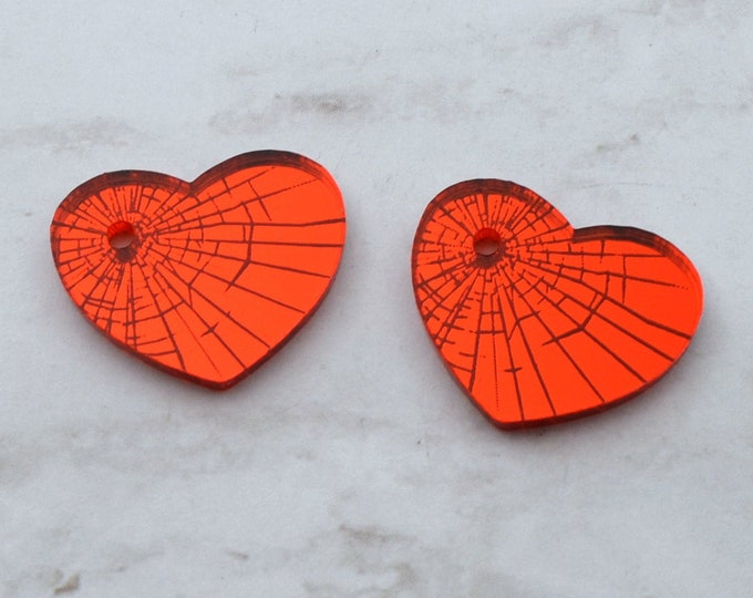 SHATTERED HEART - Red Mirror Laser Cut Acrylic Engraved Cabs