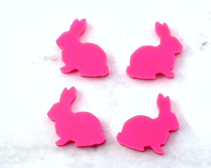HOT PINK BUNNIES - Laser Cut Acrylic Bunny Cabochons - Set of 4