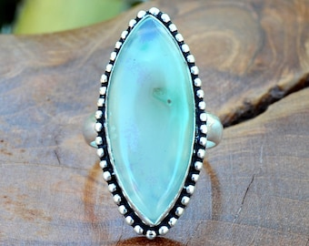 Green Onyx Marquis - Green Onyx, Sterling Silver Ring, Size 7.5, 925, USA Seller, Genuine Stone, Marquise Shape, Handmade Gemstone Ring