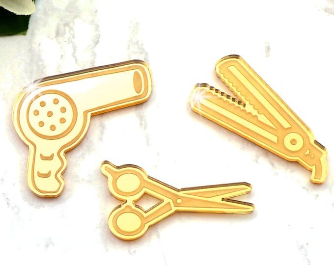HAIRSTYLIST - Gold Mirror - Laser Cut Acrylic Cabochon Set - 3 pieces