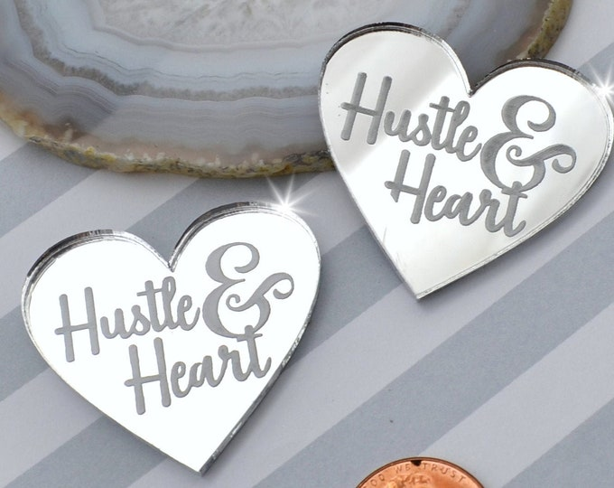 HUSTLE AND HEART - Silver Mirror Laser Cut Acrylic Cabs - Set of 2 Flatback Cabochons