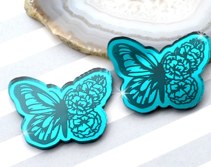 BLOOMING BUTTERFLY CABS - Teal Mirror Laser Cut Acrylic - Set of 2