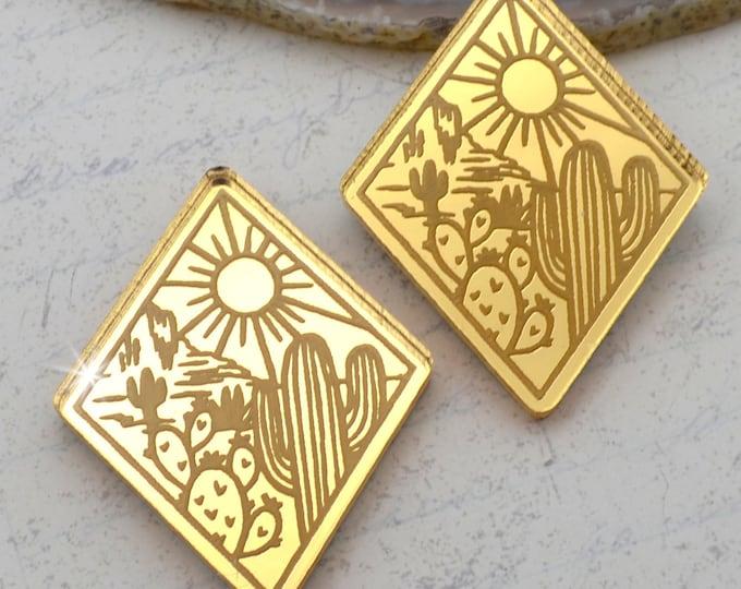 DESERT LOVE - Cactus Sunset Diamond Cabochons - Gold Mirror Laser Cut Acrylic Cabs - Set of 2 Flatbacks