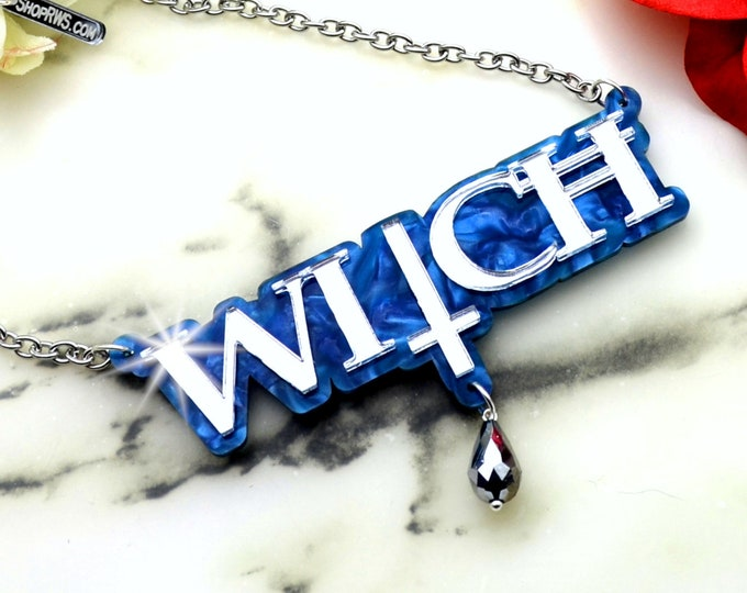 CRYSTAL WITCH - Silver Mirror and Pearl Blue Laser Cut Acrylic Necklace